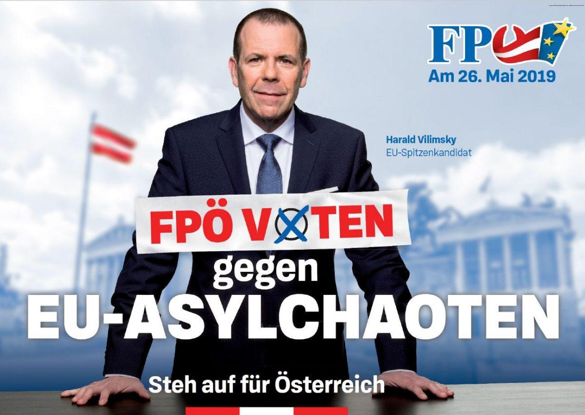 EU-Wahlplakat - Vilimsky - Gegen EU-Asylchaoten